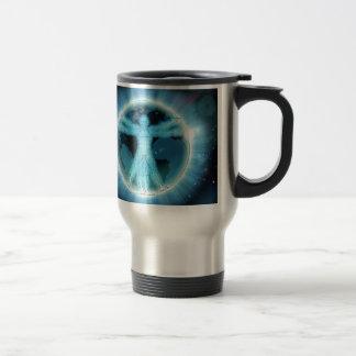 Vitruvian Man Earth World Globe Background Travel Mug