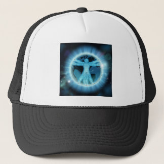 Vitruvian Man Earth World Globe Background Trucker Hat