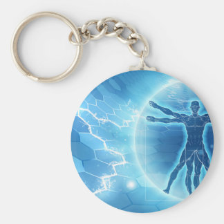 Vitruvian Man Hexagon Background Basic Round Button Keychain
