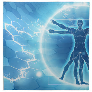 Vitruvian Man Hexagon Background Napkin