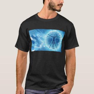 Vitruvian Man Hexagon Background T-Shirt