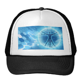 Vitruvian Man Hexagon Background Trucker Hat