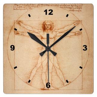 Vitruvian Man ~  Leonardo da Vinci ` 1490 ` Venice Square Wall Clock