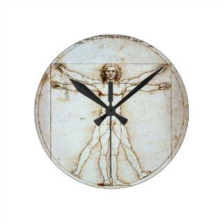 Vitruvian Man, Leonardo da Vinci, circa 1490. Round Clock
