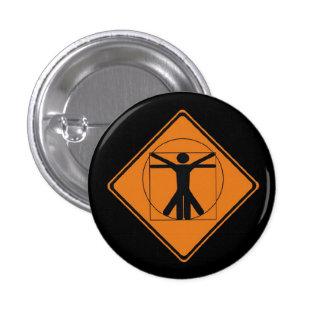 vitruvian man road sign 1 inch round button