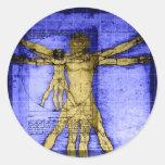 Vitruvian Man Round Stickers