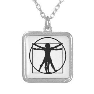 Vitruvian Man Silver Plated Necklace
