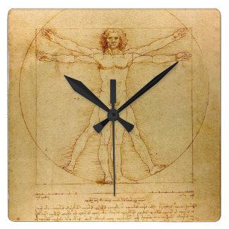 Vitruvian Man Square Wall Clock