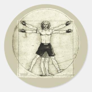 Vitruvian MMA Man Classic Round Sticker