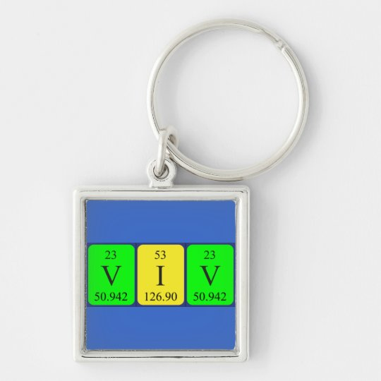 Viv periodic table name keyring Silver-Colored square keychain