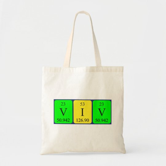 Viv periodic table name tote bag