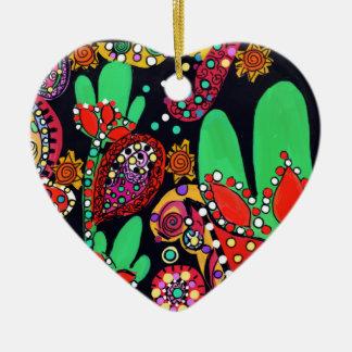 VIVA CINCO DE MAYO ART CERAMIC HEART ORNAMENT