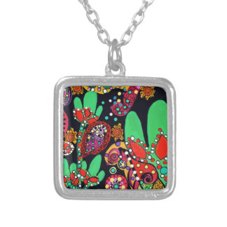 VIVA CINCO DE MAYO ART SILVER PLATED NECKLACE