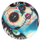 Viva Los Muertos Day of the Dead Girl Plate