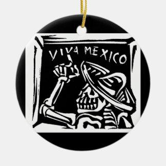 """Viva Mexico- Mexico's """"Day of the Dead"""" Round Ceramic Ornament"""
