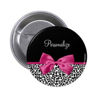 Vivacious Dark Pink Ribbon Fashion Leopard Print Pinback Button