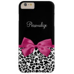 Vivacious Dark Pink Ribbon Fashion Leopard Print Barely There iPhone 6 Plus Case