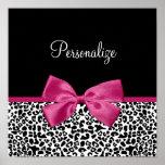 Vivacious Dark Pink Ribbon Leopard Print With Name