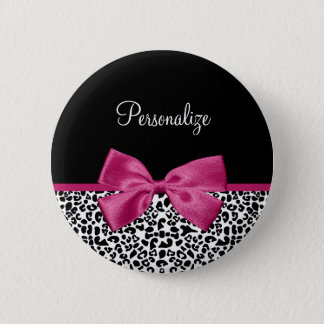 Vivacious Dark Pink Ribbon Leopard Print With Name 2 Inch Round Button
