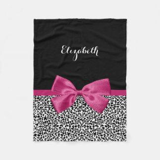 Vivacious Dark Pink Ribbon Leopard Print With Name Fleece Blanket