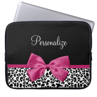 Vivacious Dark Pink Ribbon Leopard Print With Name Laptop Sleeve