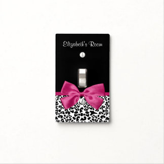 Vivacious Dark Pink Ribbon Leopard Print With Name Light Switch Cover