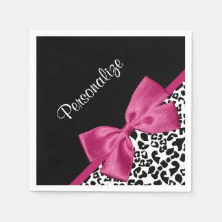 Vivacious Dark Pink Ribbon Leopard Print With Name Paper Napkins
