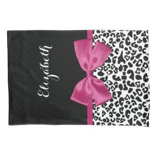 Vivacious Dark Pink Ribbon Leopard Print With Name Pillowcase