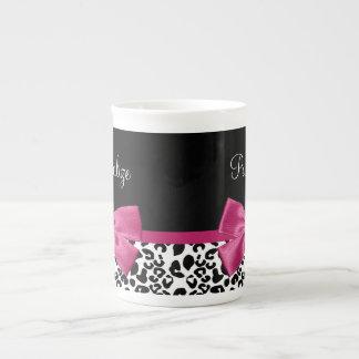 Vivacious Dark Pink Ribbon Leopard Print With Name Tea Cup