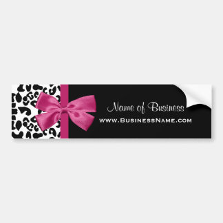 Vivacious Pink Ribbon Leopard Print Business Card Bumper Sticker