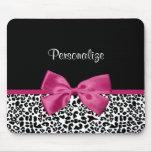 Vivacious Pink Ribbon Modern Fashion Leopard Print Mouse Pads