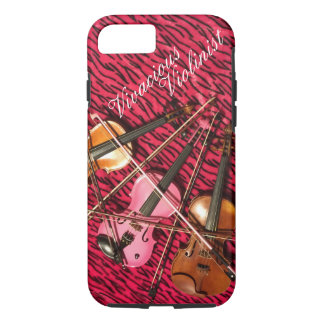 Vivacious Violinist Customizable Pink Violins iPhone 7 Case