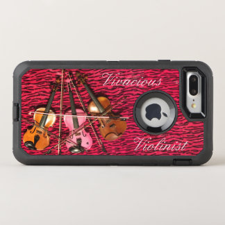 Vivacious Violinist Customizable Pink Violins OtterBox Defender iPhone 8 Plus/7 Plus Case