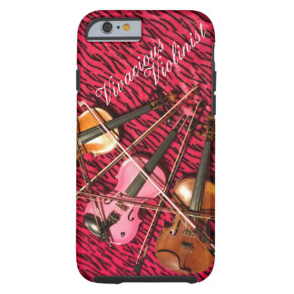 Vivacious Violinist Customizable Pink Violins Tough iPhone 6 Case