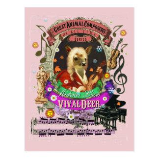 Vivaldeer Funny Deer Fawn Animal Composer Vivaldi Postcard