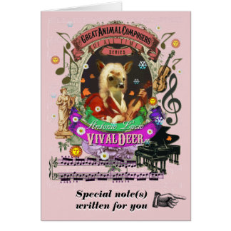 Vivaldi Parody Vivaldeer Cute Animal Composer Card
