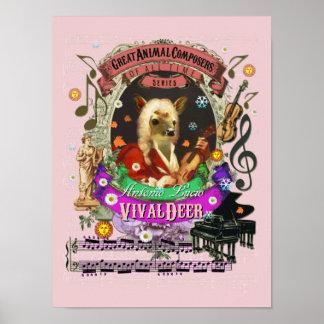 Vivaldi Parody Vivaldeer Deer Animal Composer Poster