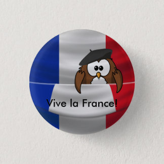 Vive la France owl 1 Inch Round Button