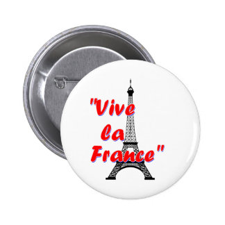 Vive la France text with Eiffel Tower 2 Inch Round Button