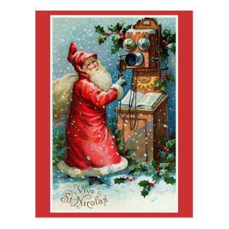 """""""Vive St. Nicolas"""" Vintage French Christmas Postcard"""