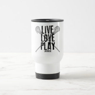 Vivez, aimez, jouez à la lacrosse mug de voyage en acier inoxydable