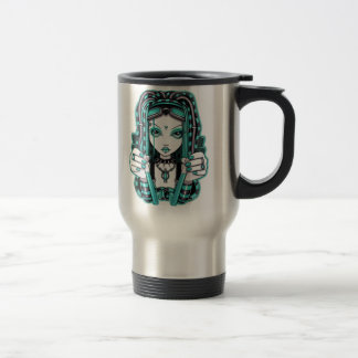 """Vivian"" Aqua Blue Cyber Goth Fairy Art Travel Mug"