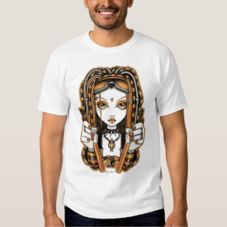 """Vivian"" Tangerine Cyber Goth Fairy Art T-shirt"