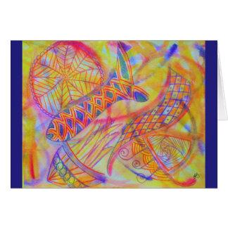 Vivid abstract mixed media card