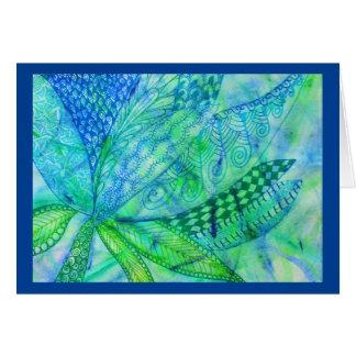 Vivid abstract mixed media floral card