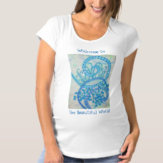 Vivid blue abstract spirals and plants maternity T-Shirt