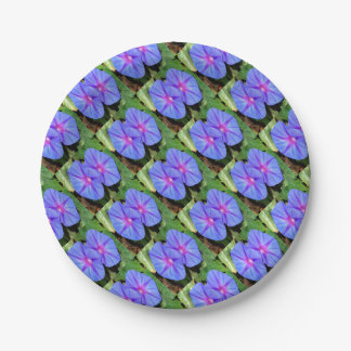 Vivid Blue, Purple and Pink Ipomoea Flowers 7 Inch Paper Plate