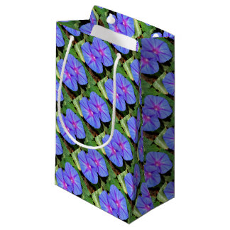 Vivid Blue, Purple and Pink Ipomoea Flowers Small Gift Bag