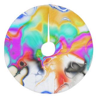 Vivid bright fractal 1 fleece tree skirt
