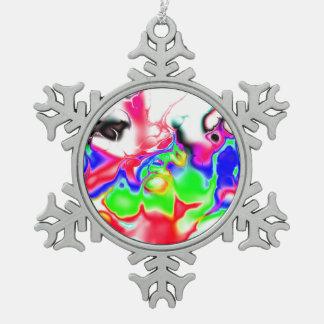 Vivid bright fractal 2 snowflake pewter christmas ornament